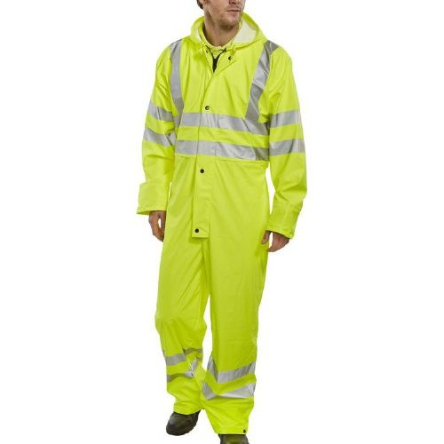BSeen Yellow Hi Vis Waterproof PU Coverall
